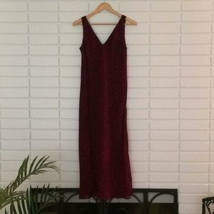 Jones New York Red Textured Print Maxi Dress